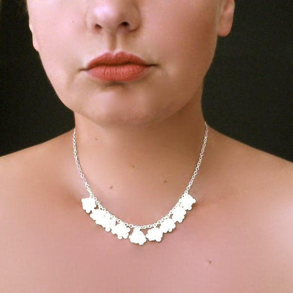 Symphony semi Necklace, satin silver by Fiona DeMarco