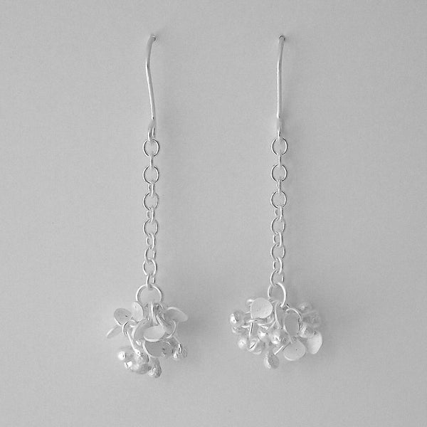 Radiance dangling Earrings, satin silver by Fiona DeMarco