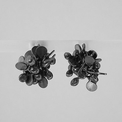 Radiance stud Earrings, oxidised silver by Fiona DeMarco