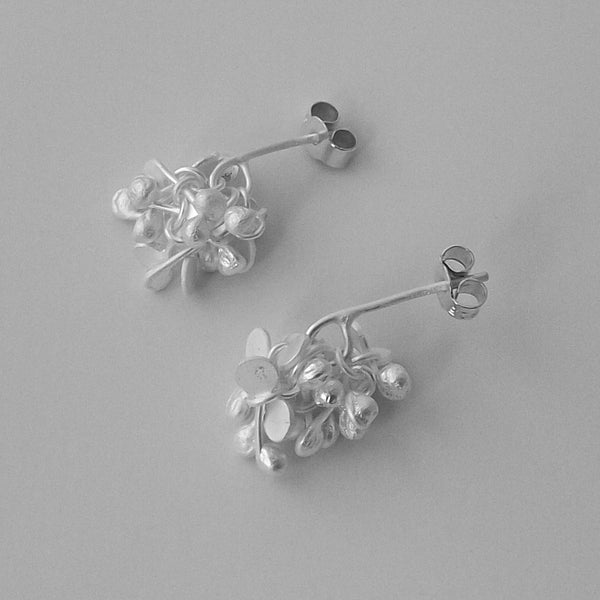 Radiance stud Earrings, satin silver by Fiona DeMarco