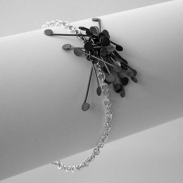Signature Cluster Bracelet, oxidised silver by Fiona DeMarco