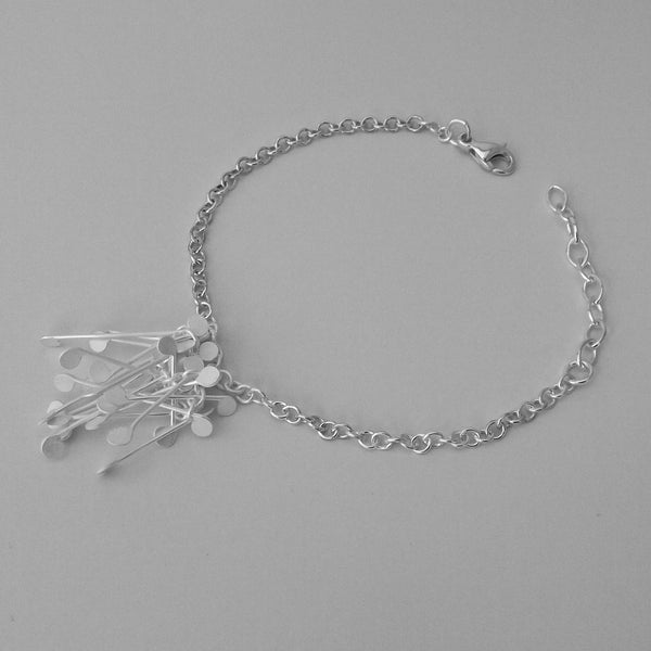 Signature Cluster Bracelet, satin silver by Fiona DeMarco