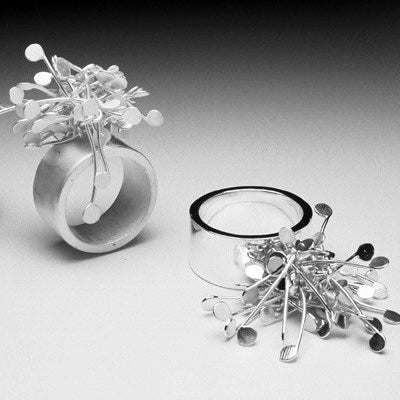 Signature Cluster wide rings, satin and polished silver by Fiona DeMarco