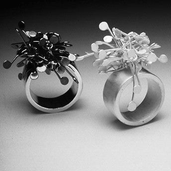 Signature Cluster wide Rings, oxidised and satin silver by Fiona DeMarco
