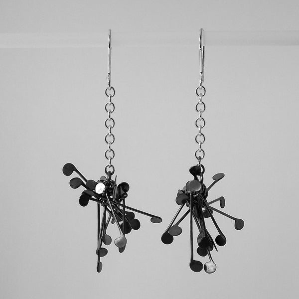 Signature Cluster dangling Earrings, oxidised silver by Fiona DeMarco