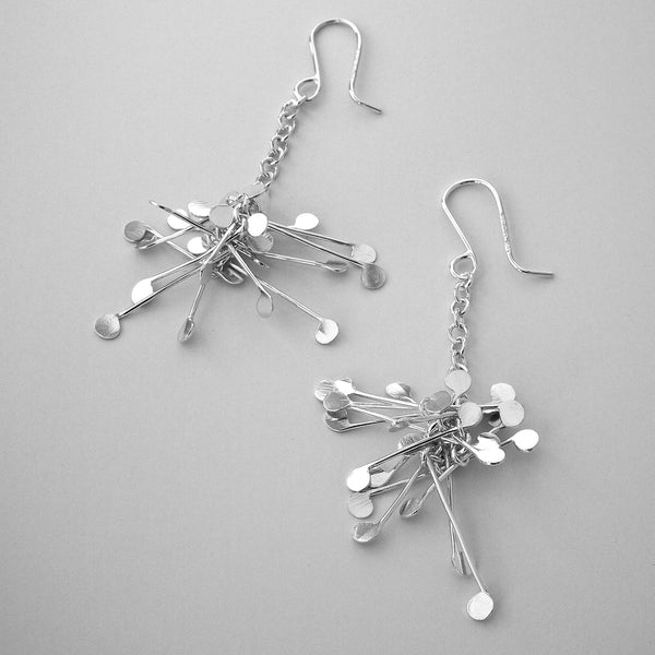 Signature Cluster dangling Earrings, polished silver by Fiona DeMarco