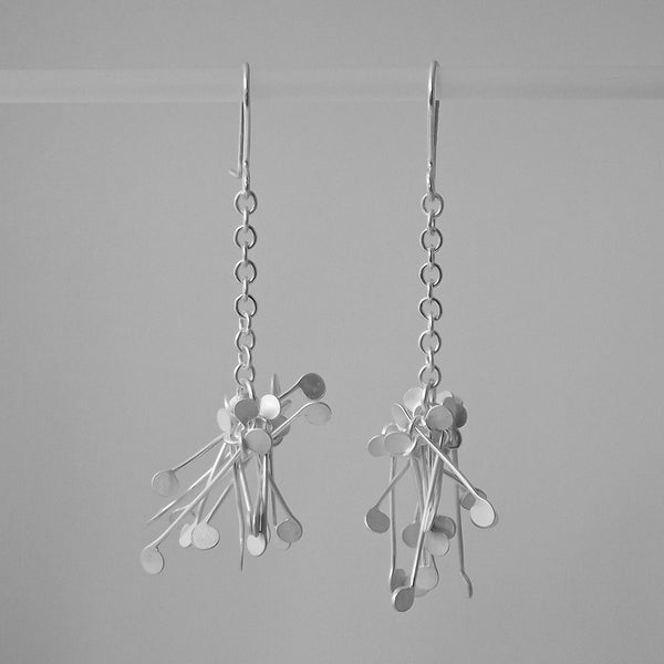 Signature Cluster dangling Earrings, satin silver by Fiona DeMarco