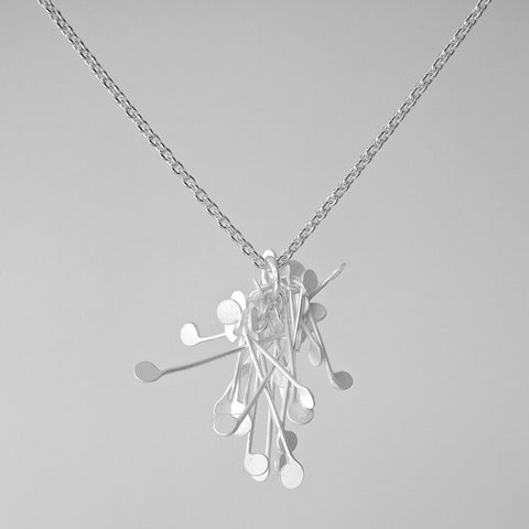 Signature Cluster Pendant, satin silver by Fiona DeMarco