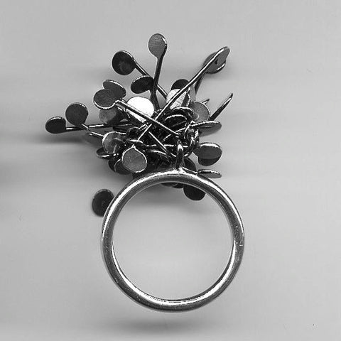 Signature Cluster Ring, oxidised silver by Fiona DeMarco