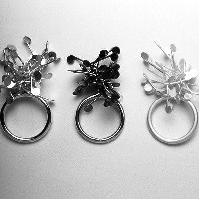 Signature Cluster rings, polished, oxidised and satin silver by Fiona DeMarco