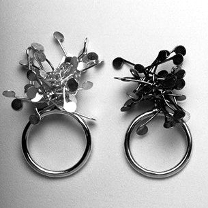Signature Cluster Rings, polished and oxidised silver by Fiona DeMarco