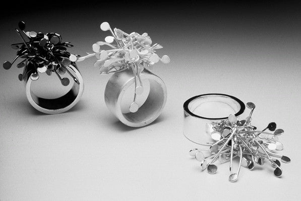 Signature Cluster wide rings, oxidised, satin and polished silver by Fiona DeMarco