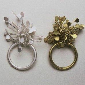 Signature Cluster Rings, satin silver and 18ct yellow gold satin by Fiona DeMarco
