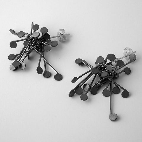 Signature Cluster stud Earrings, oxidised silver by Fiona DeMarco