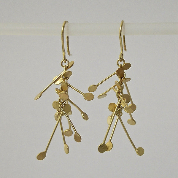 Signature Precious dangling Earrings, 18ct yellow gold satin by Fiona DeMarco