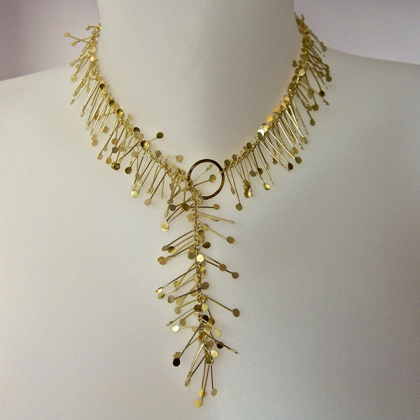 Signature Precious lariat Necklace, 18ct yellow gold satin by Fiona DeMarco