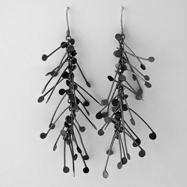 Signature dangling Earrings, oxidised silver by Fiona DeMarco