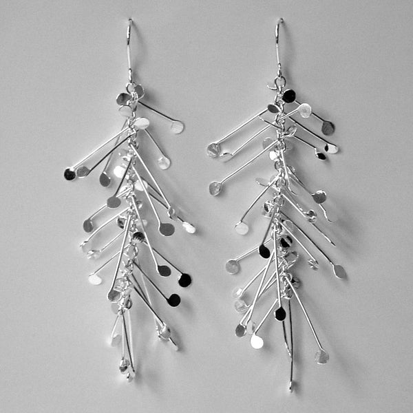 Signature dangling Earrings, polished silver by Fiona DeMarco