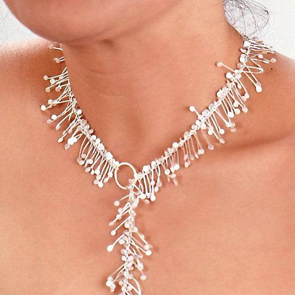 Signature lariat Necklace, satin silver by Fiona DeMarco