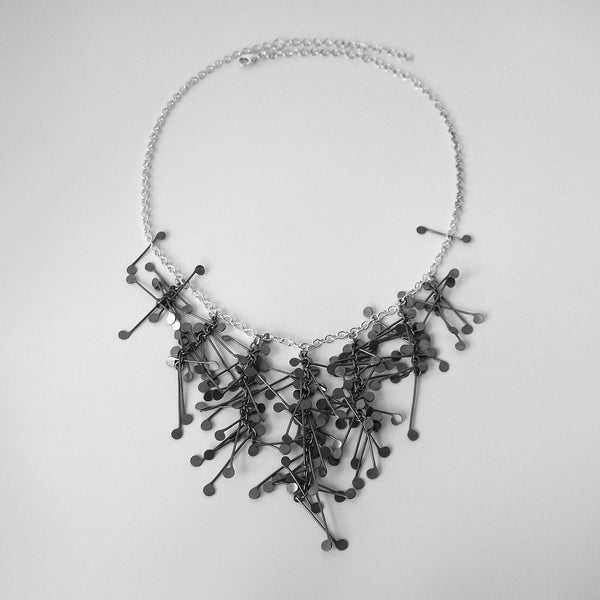 Signature semi graduated Necklace, oxidised silver by Fiona DeMarco
