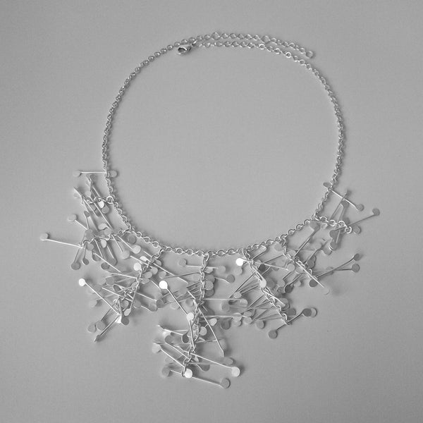 Signature semi graduated Necklace, satin silver by Fiona DeMarco