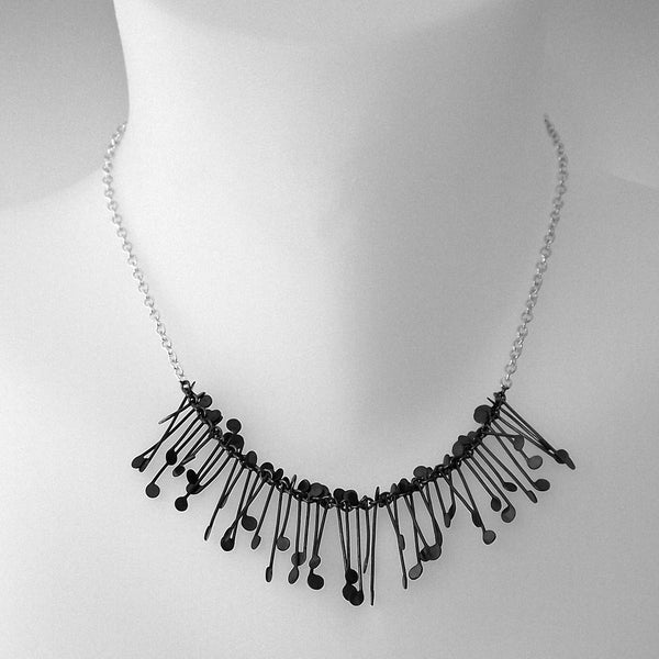 Signature semi Necklace, oxidised silver by Fiona DeMarco