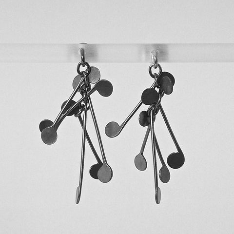 Signature stud Earrings, oxidised silver by Fiona DeMarco