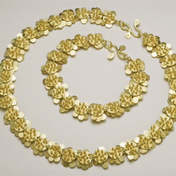 Symphony Precious necklace and Bracelet reverse side, 18ct yellow gold satin by Fiona DeMarco