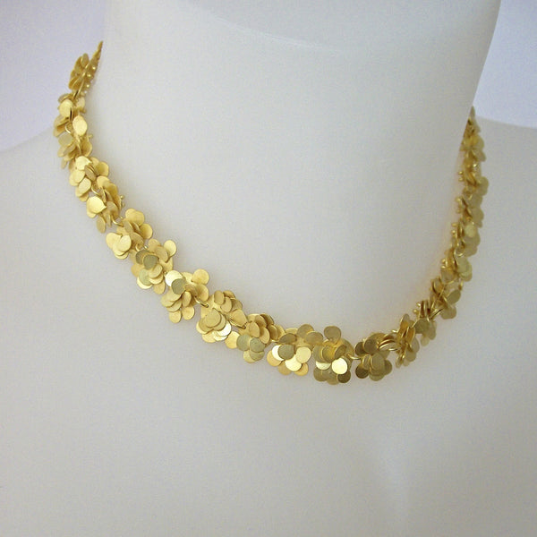 Symphony Precious Necklace, 18ct yellow gold satin by Fiona DeMarco