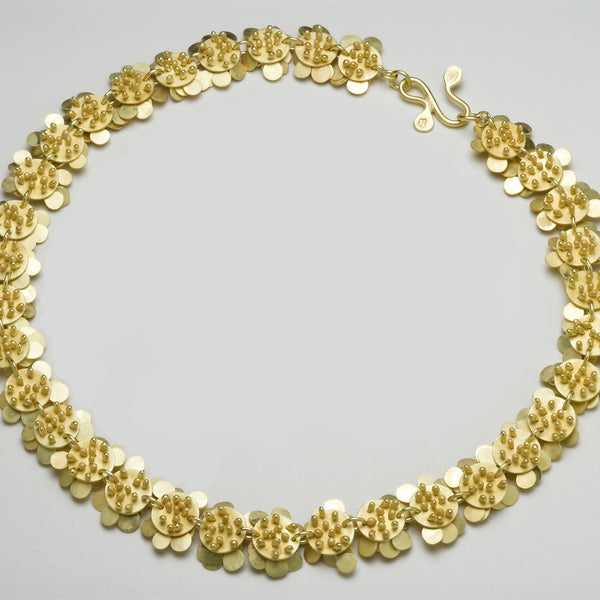 Symphony Precious Necklace, reverse side, 18ct yellow gold satin by Fiona DeMarco