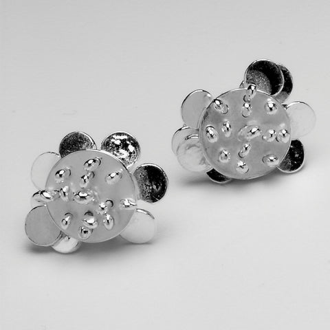 Symphony reverse stud Earrings, polished silver by Fiona DeMarco