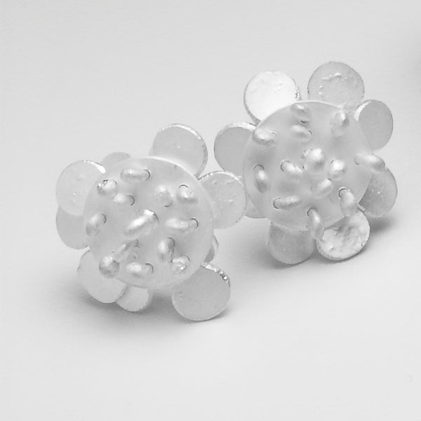 Symphony reverse stud Earrings, satin silver by Fiona DeMarco