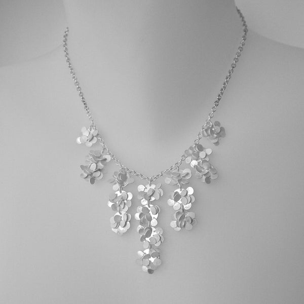Symphony semi graduated Necklace, satin silver by Fiona DeMarco