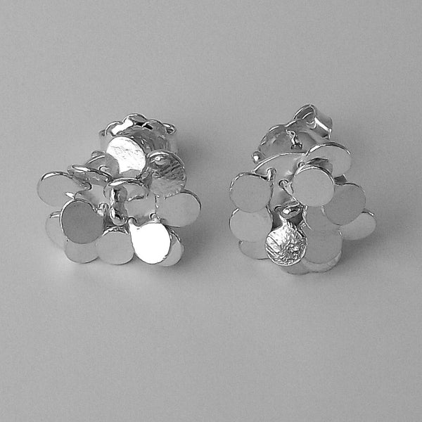 Symphony stud Earrings, polished silver by Fiona DeMarco