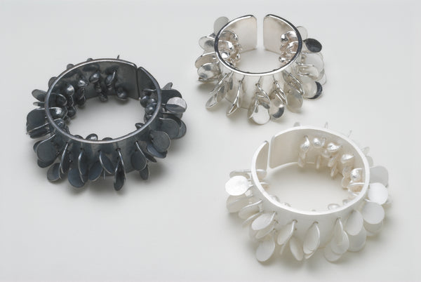 Icon wide Rings, polished, satin and oxidised silver by Fiona DeMarco