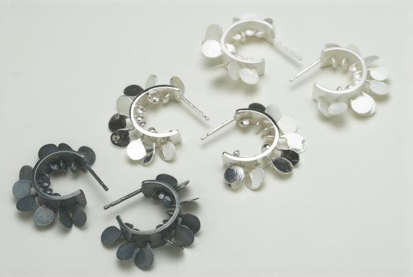Icon hoop stud earrings, oxidised, polished and satin silver by Fiona DeMarco