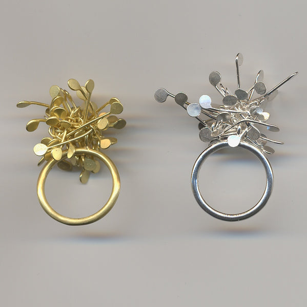 Signature Cluster Rings, 18ct yellow gold and polished silver by Fiona DeMarco