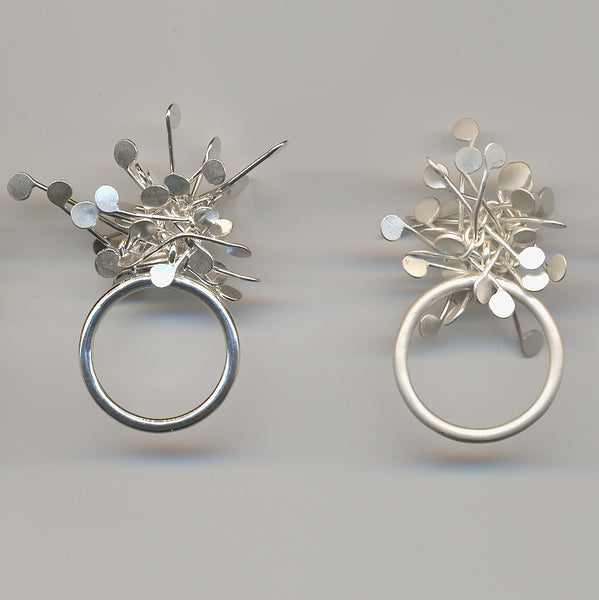 Signature Cluster Rings, polished and satin silver by Fiona DeMarco
