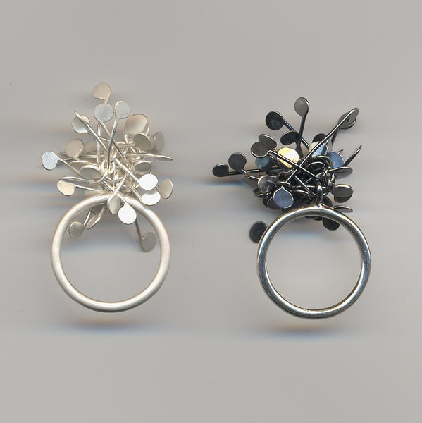 Signature Cluster rings, satin and oxidised silver by Fiona DeMarco