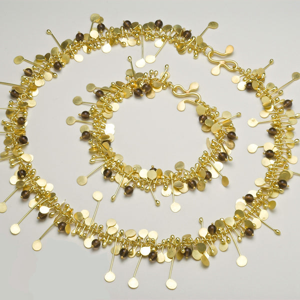 Blossom & Bloom Precious Necklace and Bracelet with Smoky Quartz, 18ct yellow gold by Fiona DeMarco
