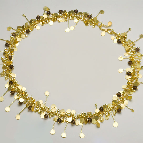 Blossom & Bloom Precious Necklace with smoky quartz, 18ct yellow gold satin by Fiona DeMarco