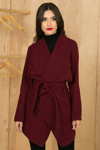 Wine Waterfall Wrap Coat