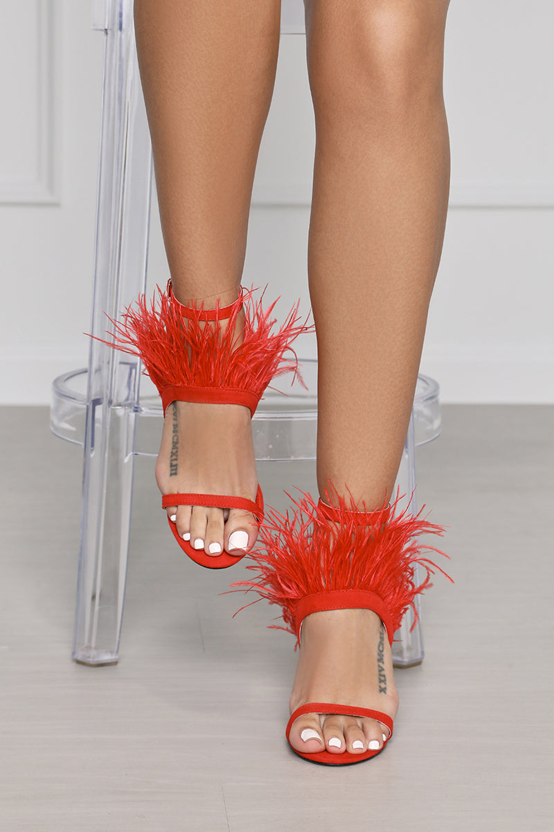 Cobana Faux Feather Mule (Red)- FINAL SALE