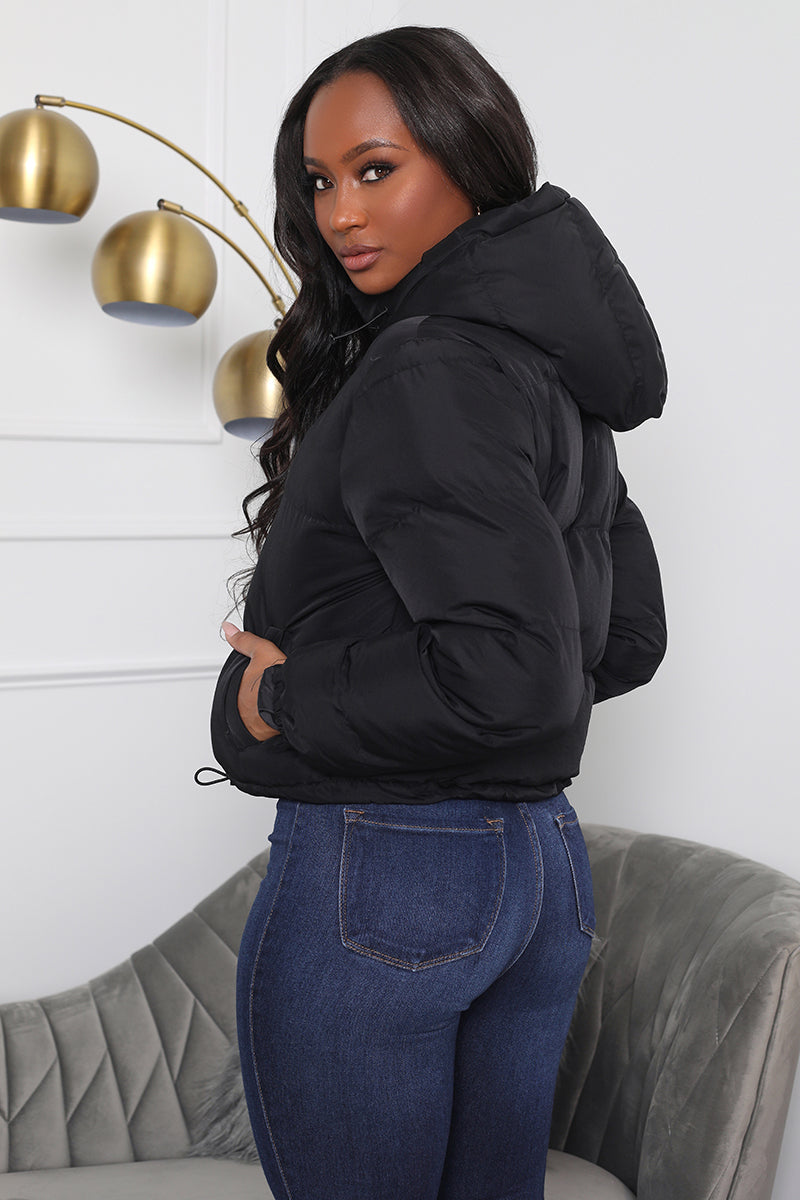 Arctic Chill Cropped Puffer Jacket  (Black)