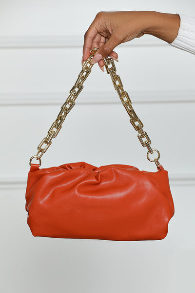 Ruched Chain Handbag (Orange)