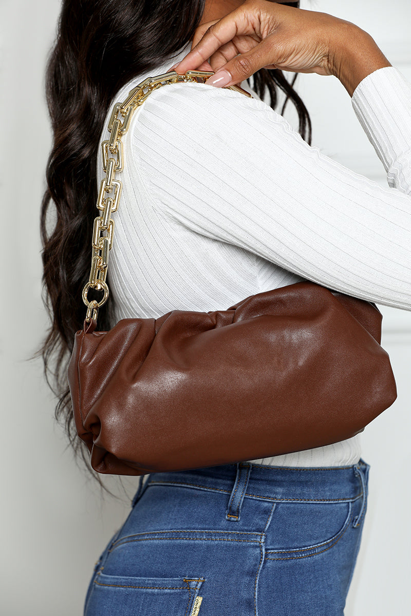 Ruched Chain Handbag (Brown)- FINAL SALE