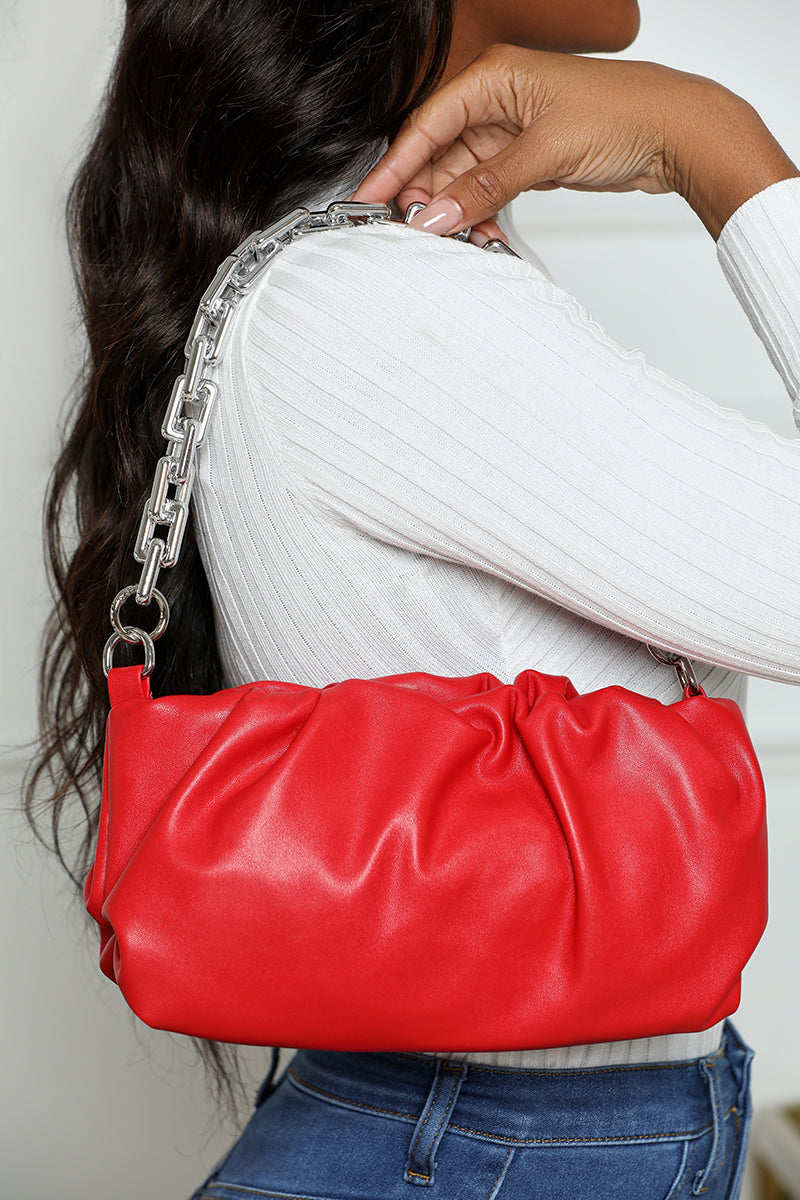 Ruched Chain Handbag (Red)