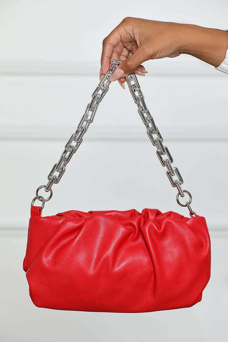 Ruched Chain Handbag (Red)- FINAL SALE