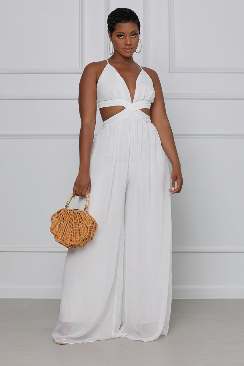 Grown & Sexy Wide Leg Jumpsuit (White)