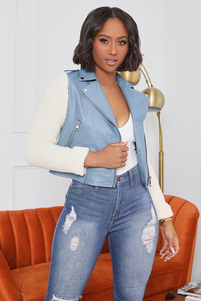 Faux Leather Jacket With Wool Sleeves (Blue)